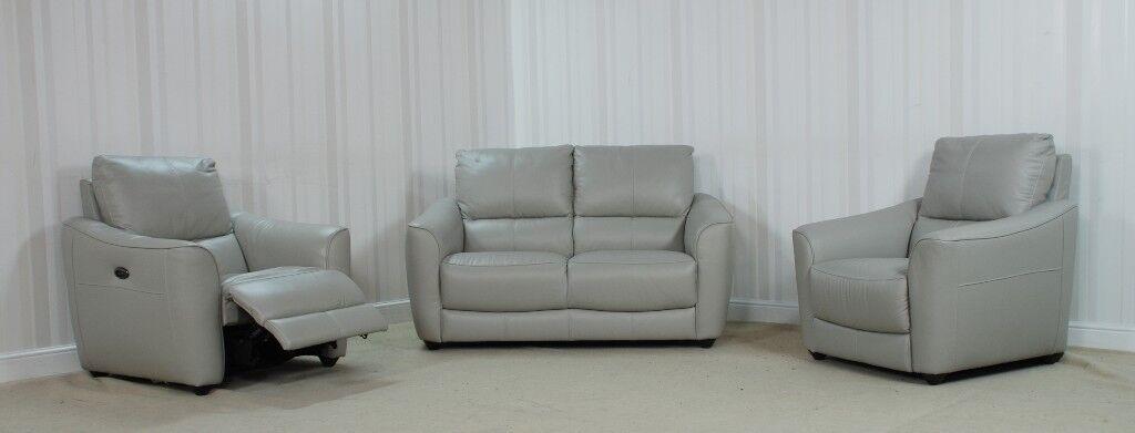 Designer Leather Grey Sofa (13) £899