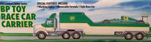 1993 BP RACE CAR CARRIER TRUCK WITH RACE CAR NIB