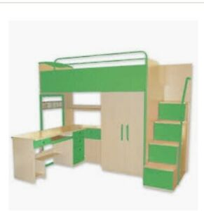 Bunk bed with desk, drawers and inbuilt wardrobe