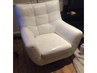 White Leather DFS Armchair - Excellent Condition