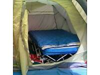 Double folding camp bed with inflatable mattress