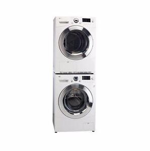 "LG STACKABLE 24"" Washer & Dryer WM1377hw / DLEC855w"