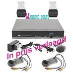 Full HD Camerabewaking set, 4-kan DVR, 2x HD Camera, 1TB Hdd