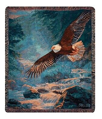 American Majesty Eagle North American Made Woven Tapestry Throw Blanket (Eagle Tapestry Throw Blanket)