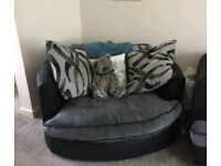 GONE PENDING COLLECTIONLarge sofa and cuddle/swirl chair