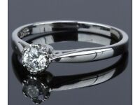 Brilliant cut 18ct white gold and 0.20ct diamond in 12 claw setting engagement ring