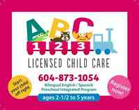 ABC123  LICENSED CHILD CARE - BILINGUAL (English/ Spanish)