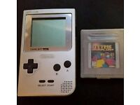 Gameboy Pocket (Silver) with Tetris & Super Mario Land - Fully working