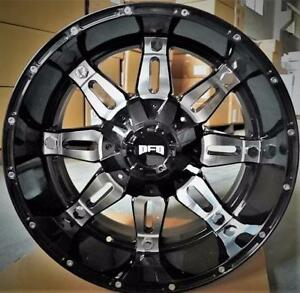 NEW! 20X12 and 22X12 8 LUG HEAVY DUTY WHEELS!! BLACK MACHINED FACE 8X165 AND 8X170 - F250 F350 RAM 2500 3500 CHEVY DODGE