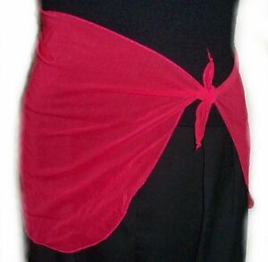 Red Mesh Swimsuit Coverup Sarong Skirt - MEDIUM