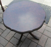"""Gibbard Vintage Round 19"""" tall Tiger Oak table with Brass """"Feet"""""""