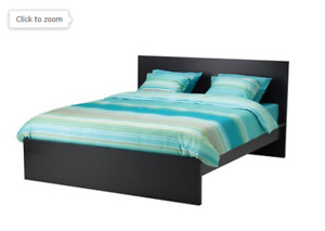 Double Ikea Malm bed frame black-brown