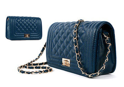 Quilted Full Flap Bag With Chain Navy Blue Purse Love Crossbody Handbag 06