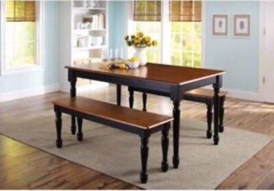 Kitchen Dining Set Farmhouse Table 2 Benches and 2 Chairs Black & Oak Finish ()