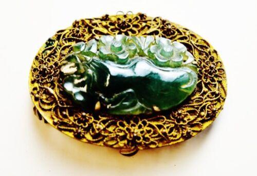 Antique Chinese brooch gilt filigree basket icy dark green nephrite jade oval br