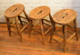 10 available Victorian stools antique industrial kitchen retro seating cafe wooden school old