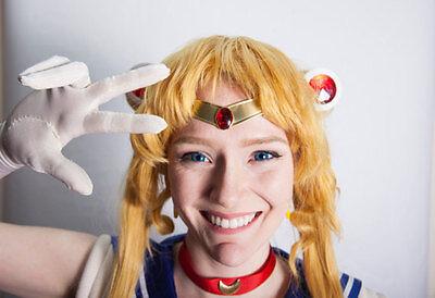 Sailor Moon/Chibi Moon Smooth Red Gem Metal Cosplay Tiara