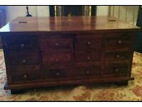 Solid sheesham wooden 12 drawer coffee table