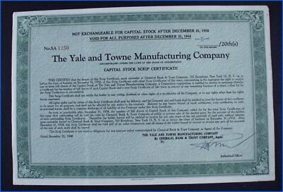 1948 The Yale   Towne Manufacturing Company Capital Stock Scrip Certificate