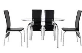 Varezze 130cm Glass Dining Table & 4 Chairs.Table: H76, W130, D80 cm. Chairs: H104, W45, D55.5cm