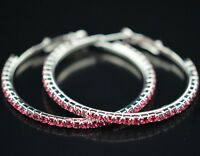 Pink Color Big Crystal Swarovski Earring Hoop Circle
