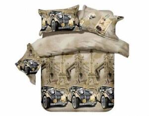 Todd Linens Car Paris Eiffel Tower London Bridge 3 Pcs Queen Set 1 Duvet Cover + 2 Pillow Case Active Print Bedding Set