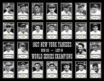 1927 Yankees Team  Photo 11X14   Ruth Gehrig Lazzeri New York Murderers' Row B&W