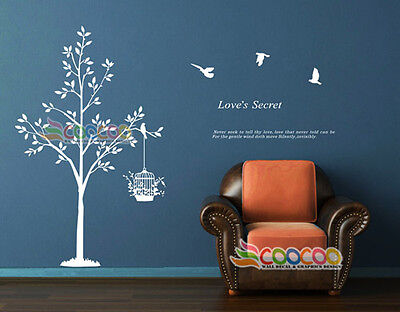 (Wall Decor Art Vinyl Removable Mural Decal Sticker Tree With Birds Cage DC010760)