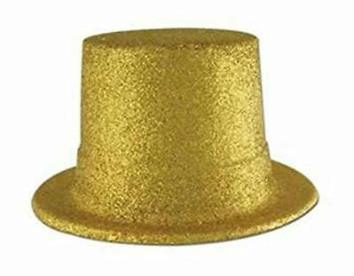Beistle Plastic Gold Glitter Coated Top Hat (Gold Glitter Top Hat)