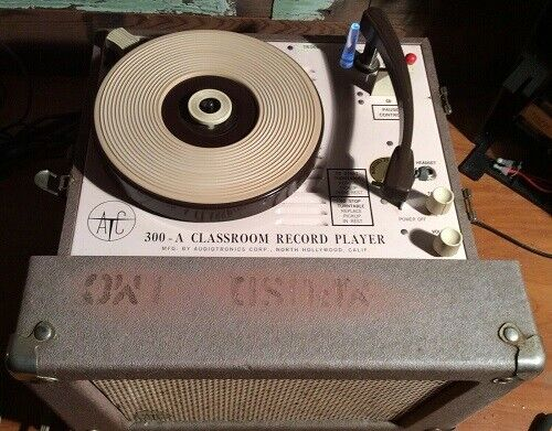 Vintage Tube Powered Audiotronics 300a Classroom Record Player Turntable