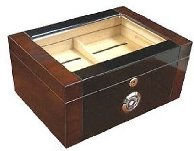 THE FORTUNA 120 ~ Two Tone Dark Burl with Black Lacquer Finish 120 Cigar Humidor Dark Two Tone Finish