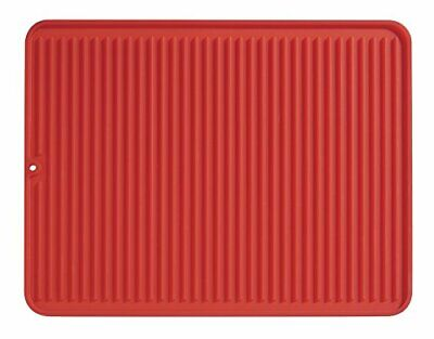 iDesign Dish Drainer Mat, Large Silicone Draining Board Mat for (Large Red)