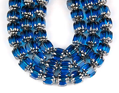 25pcs Czech Fire Polished Cathedral Aqua Silver Faceted Glass Beads 6mm