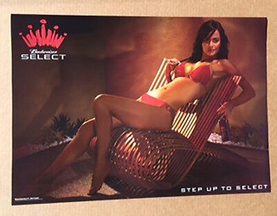 Budweiser Select Sexy Girl in Bikini Poster  BEER -NEW-