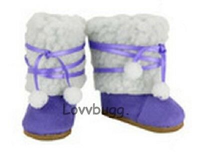 "Lovvbugg Purple Sherpa Boots for 18"" American Girl or Bitty Baby Doll Shoes"