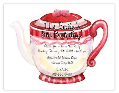 8 Teapot Tea Party CUSTOM Birthday Invitations Bridal - Teapot Invitations