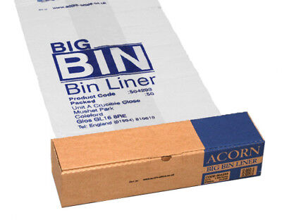 50 ACORN EXTRA STRONG AND LARGE BIG BIN LINERS CLEAR PLASTIC BAGS 95L 504293