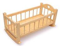 Natural Wooden Doll's Rocking Cradle Cot Crib Girls Babies Children Sleep Night