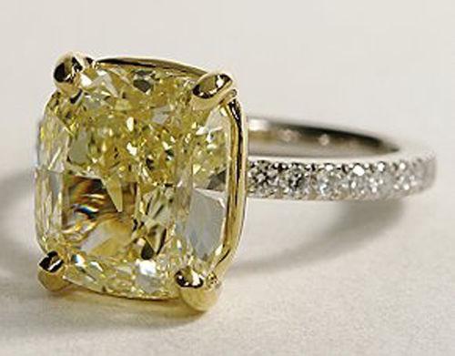 GIA 3.50 Ct. Cushion Cut Canary Diamond Engagement Ring FY, VS1 18K & Platinum