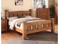 MICHIDEAN 5' King Size Solid Natural Oak Bed Frame