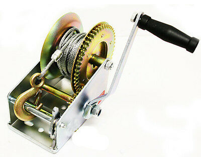 2000lb 1 Ton Hand Crank Steel Gear Cable Wire Winch Boat ATV Trailer w/Hook