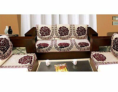 Indian Handmade 6 Piece Cotton Sofa and Chair Cover Set - Maroon ()