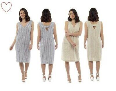 Damen Leinenkleid Mädchen Gestreift Shift V-Ausschnitt Sommer Urlaub (Mädchen Shift Kleider)