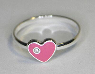 925 ECHT SILBER *** Kinderring Kinder Ring  Herz rosa pink