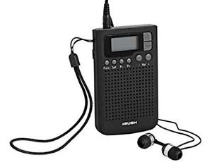 bush r 9383 personal pocket handheld fm am radio alarm clock. Black Bedroom Furniture Sets. Home Design Ideas