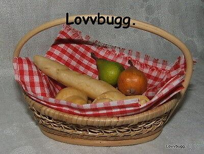 "Lovvbugg Picnic Basket w Bread Fruit for 18"" American Girl Doll Food Accessory"