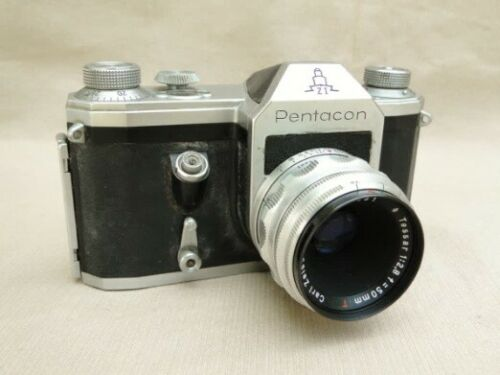 Pentacon camera with Zeiss Jena Tessar 50mm f2.8 lens - vintage SLR camera