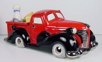 Henry Cavanagh Vintage Truck Cookie Jar Transportation Red Hot Rod Pickup NIB