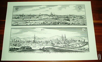 Kassel + Fulda: alte Ansicht Merian Druck Stich 1650 Panorama