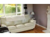 Cream leather sofa. Three seater. Free